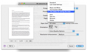 Saving your printer presets in Mac OS X