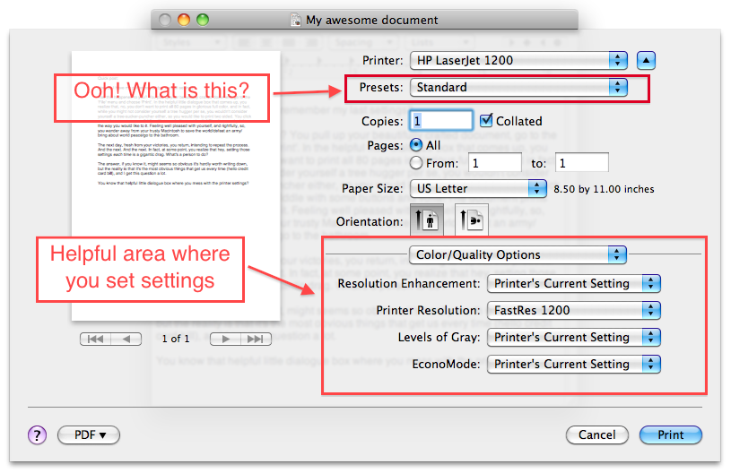 Printer Presets Dialogue Box